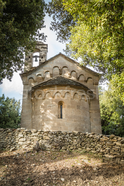 Stone chapel at San Quilico in central Corsica Stock photo © Joningall