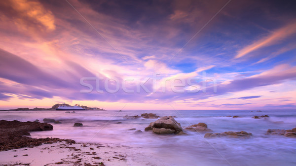 Ile Rousse harbour in Corsica at dusk Stock photo © Joningall