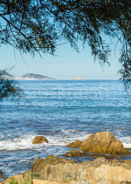 L'Ile Rousse viewed from Desert Des Agriates in Corsica Stock photo © Joningall