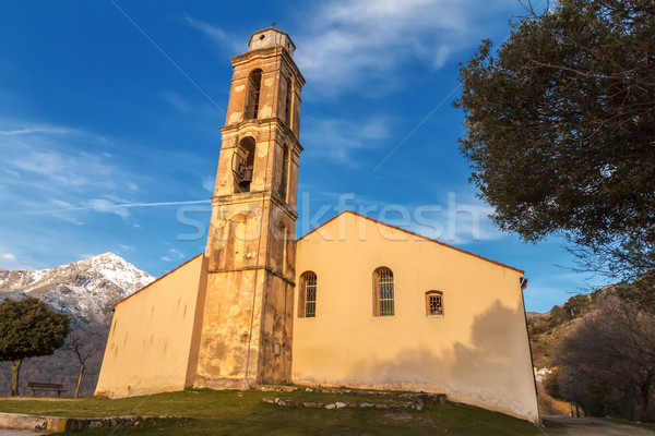 Chapel and bell tower near Pioggiola in Corsica Stock photo © Joningall