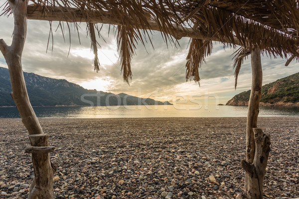 View from beach bar at Bussaglia beach in Corsica Stock photo © Joningall