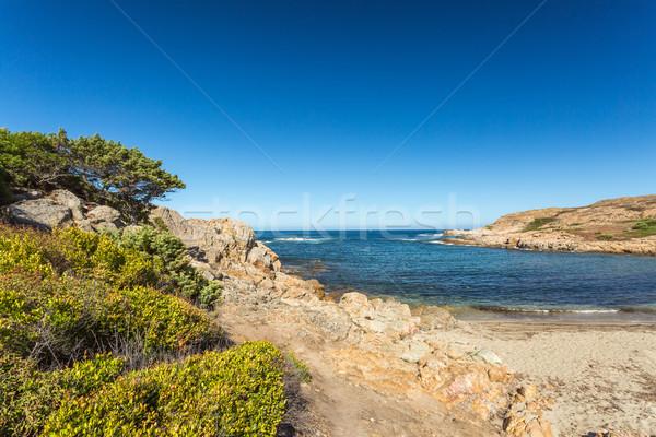 Tengerpart tengerpart észak Korzika elhagyatott kövek Stock fotó © Joningall
