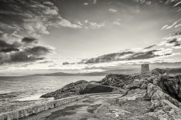 Dawn over tower in Ile Rousse, Corsica Stock photo © Joningall