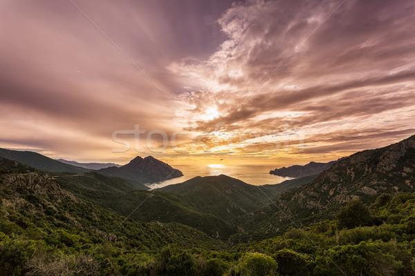 закат Запад побережье Корсика драматический небе Сток-фото © Joningall