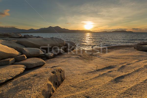日没 コルシカ島 海岸線 西 海岸 太陽 ストックフォト © Joningall