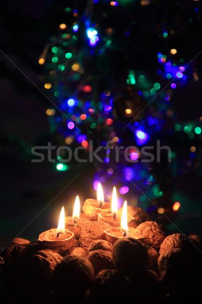 Kerze Nussbaum Muscheln Weihnachten Überlieferung Stock foto © jonnysek