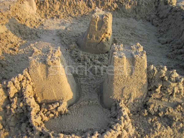 Homokvár szép tengerpart háttér homok jókedv Stock fotó © jonnysek