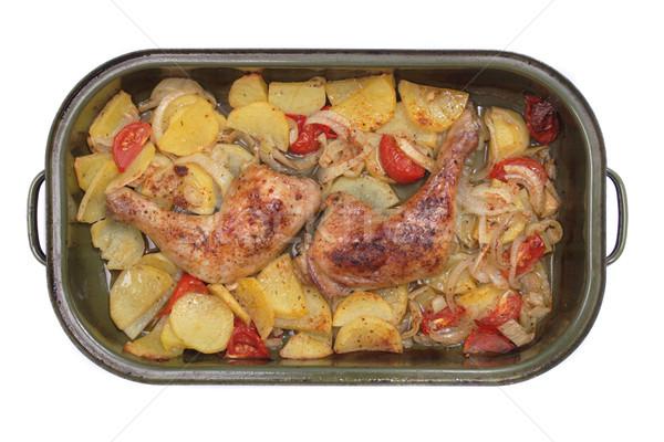 Gegrilde kip vlees geïsoleerd witte olie huid Stockfoto © jonnysek
