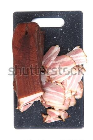 Caseiro fumado bacon isolado branco comida Foto stock © jonnysek