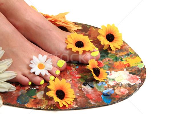 女性 脚 ペディキュア 爪 孤立した ストックフォト © jonnysek