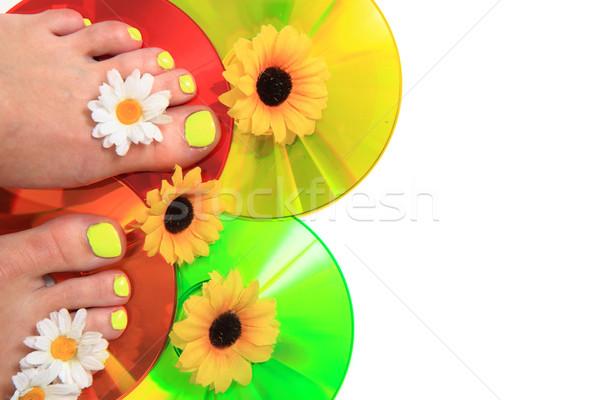 Vrouwen voeten pedicure bloemen geïsoleerd witte Stockfoto © jonnysek