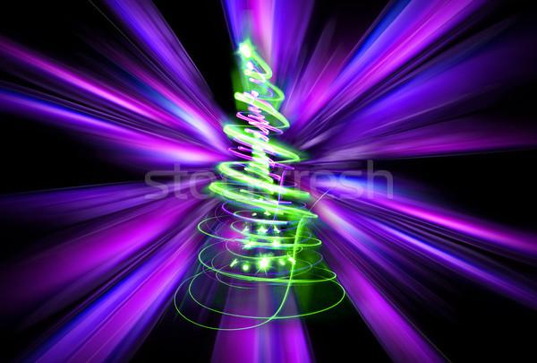 Noël arbre lumières couleur forêt art Photo stock © jonnysek