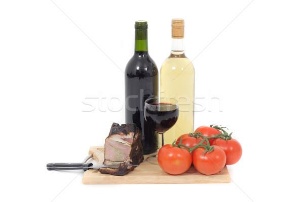 Foto stock: Carne · vinho · isolado · branco · fundo · jantar