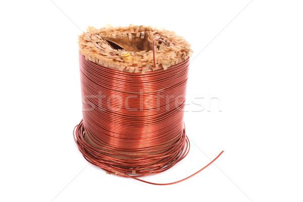 Miedź toczyć biały drutu line blisko Zdjęcia stock © jonnysek