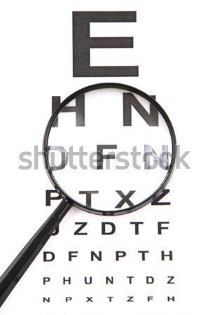 eye test chart and black glasses Stock photo © jonnysek