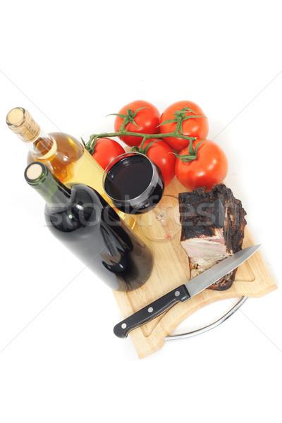 Сток-фото: копченый · мяса · вино · изолированный · белый · фон