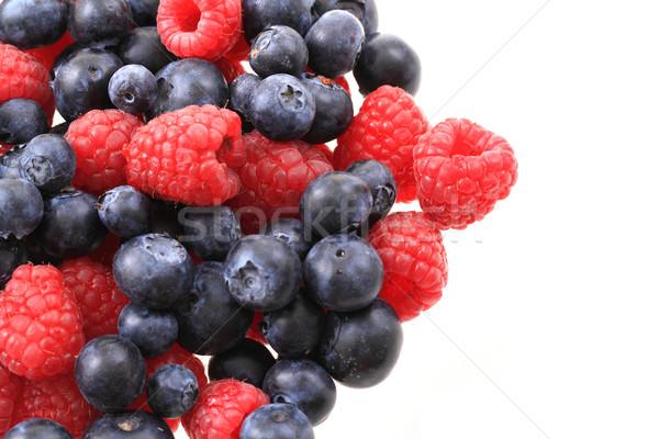 Stock foto: Heidelbeeren · ad · Himbeeren · isoliert · weiß · Obst