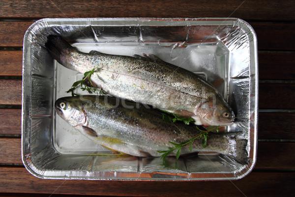 Nyers pisztráng hal szép étel egészség Stock fotó © jonnysek