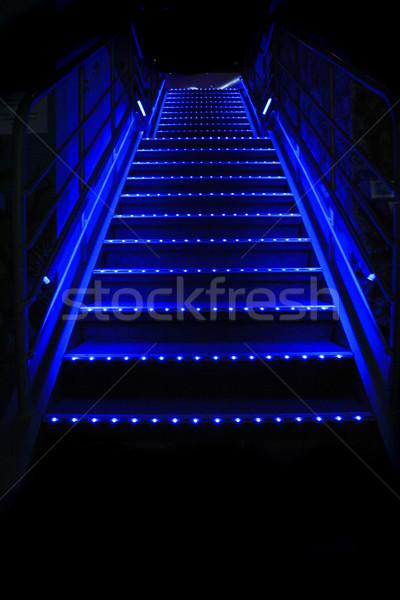 Lépcsősor szép kék éjszaka bár háttér Stock fotó © jonnysek