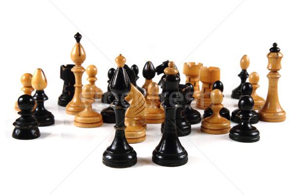 Schach Set isoliert weiß schwarz König Stock foto © jonnysek