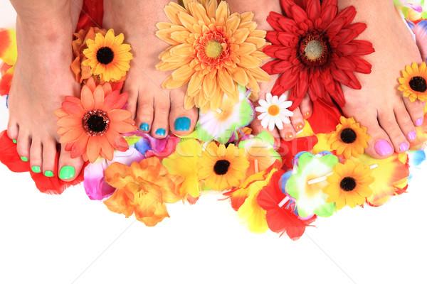 женщины цветы педикюр Nice цветок красоту Сток-фото © jonnysek