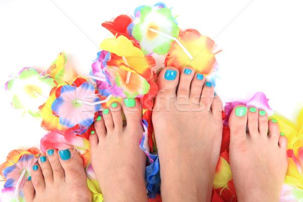 Nők virágok pedikűr szép virág szépség Stock fotó © jonnysek