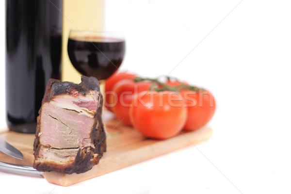 Foto stock: Vinho · fumado · carne · isolado · branco · fundo