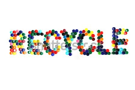 word recycle from color plastic caps Stock photo © jonnysek
