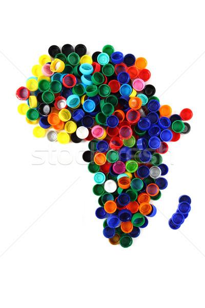 africa map from color plastic caps  Stock photo © jonnysek