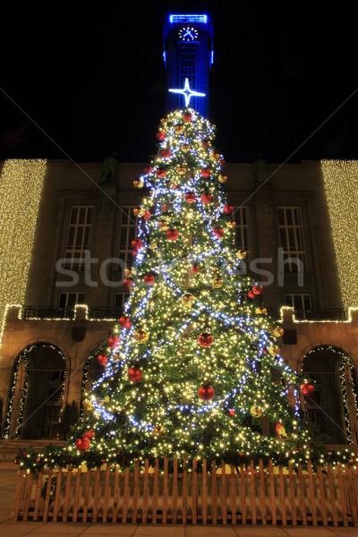 Noel ağacı renk ışıklar siyah soyut ışık Stok fotoğraf © jonnysek