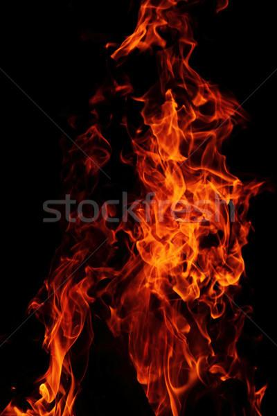 Rood vlammen geïsoleerd zwarte textuur zon Stockfoto © jonnysek