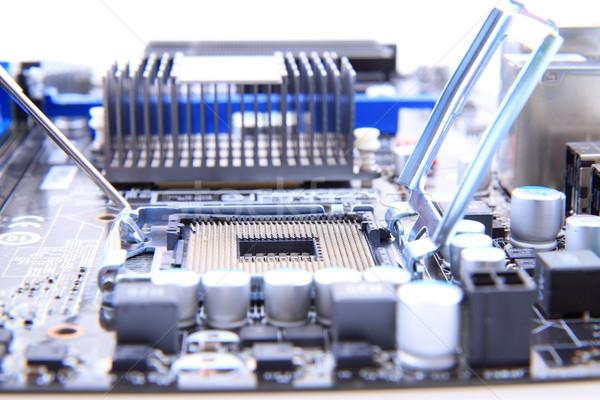 詳細 現代 コンピュータ マザーボード 小 技術 ストックフォト © jonnysek