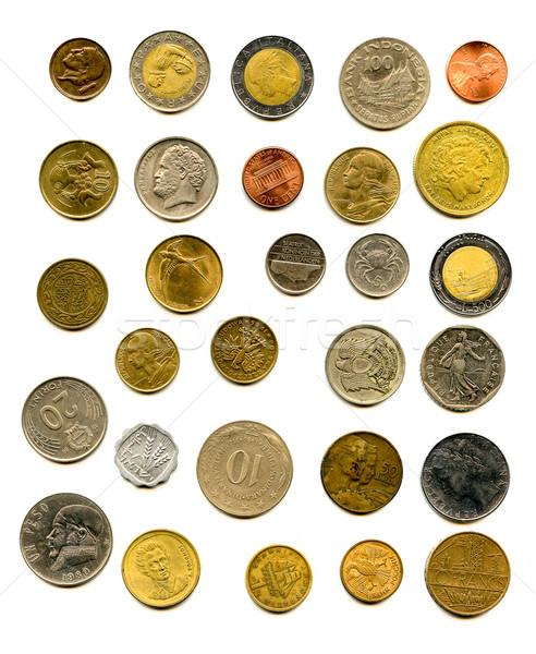 Európai érmék izolált fehér pénz háttér Stock fotó © jonnysek