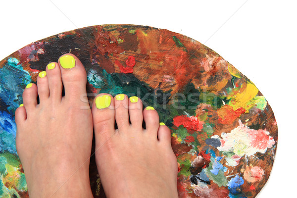 colored nails (pedicure) and color palette  Stock photo © jonnysek