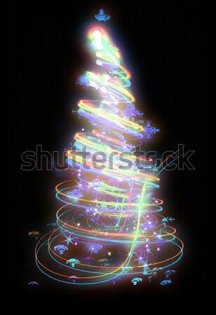 Сток-фото: рождественская · елка · изолированный · черный · дизайна · фон · звезды