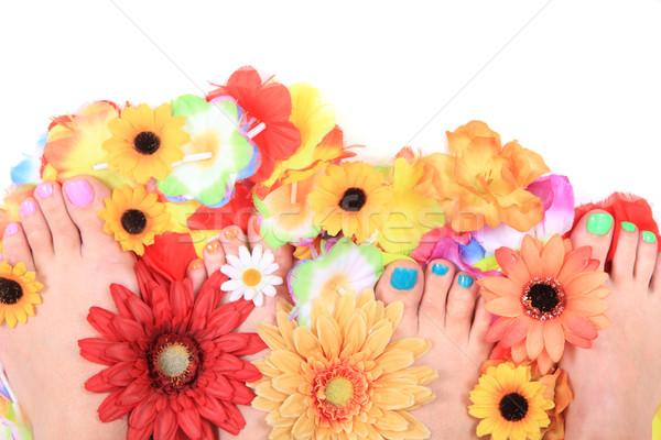 женщины цветы педикюр Nice цветок стороны Сток-фото © jonnysek