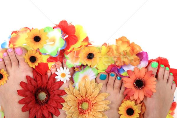 Pedicure nagels voeten bloemen geïsoleerd witte Stockfoto © jonnysek