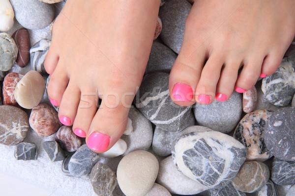 Benen nagels stenen pedicure geïsoleerd witte Stockfoto © jonnysek