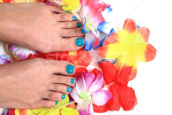 Nők láb pedikűr virágok izolált fehér Stock fotó © jonnysek
