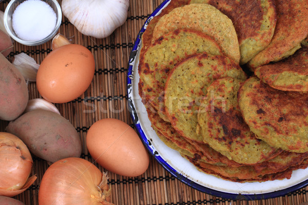 Stok fotoğraf: Patates · krep · malzemeler · gıda · yağ · plaka