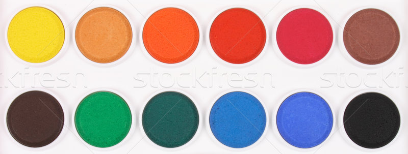 Stock photo: Paint box with watercolors