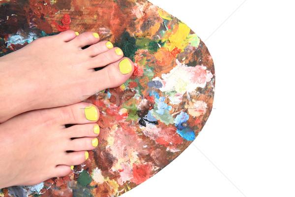 women feet and colors (pedicure background) Stock photo © jonnysek