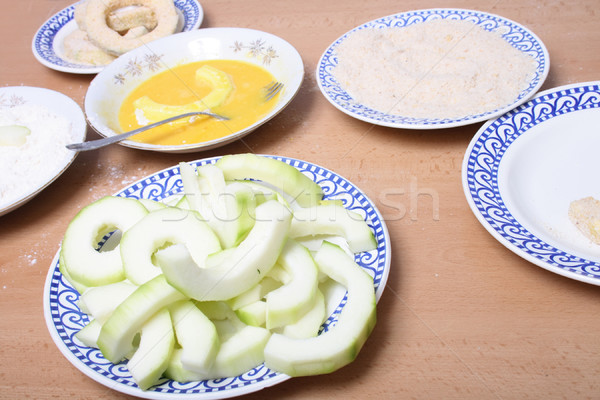 preparing of schnitzel from zucchini Stock photo © jonnysek