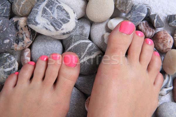 Pedicure rosa chiodi pietre fiore acqua Foto d'archivio © jonnysek