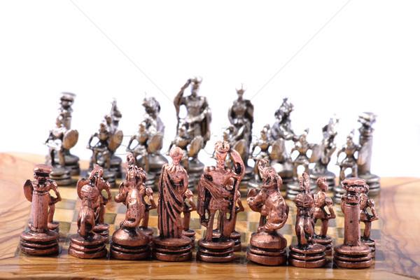 Satranç eski oyun ahşap Metal el Stok fotoğraf © jonnysek