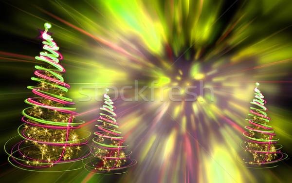 Noël arbre lumières couleur forêt design Photo stock © jonnysek