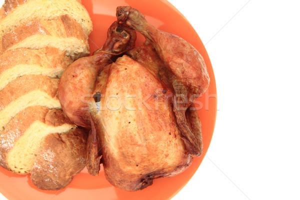 Gegrilde kip geïsoleerd witte kip huid wortel Stockfoto © jonnysek