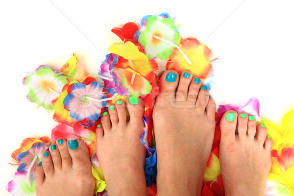 Vrouwen bloemen pedicure vrouw kleuren geïsoleerd Stockfoto © jonnysek