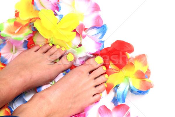 женщины ног педикюр цветы изолированный белый Сток-фото © jonnysek