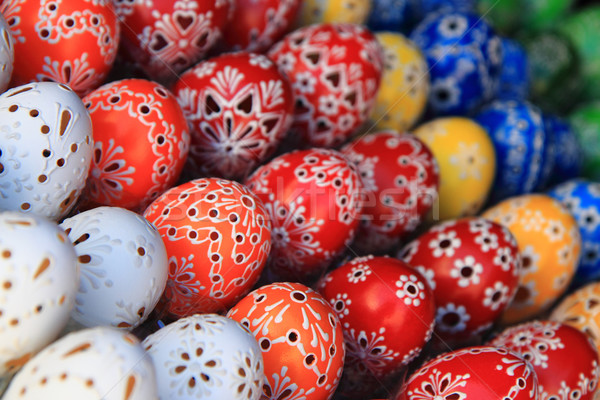 œufs de Pâques décoré vacances République tchèque Pâques printemps Photo stock © jonnysek